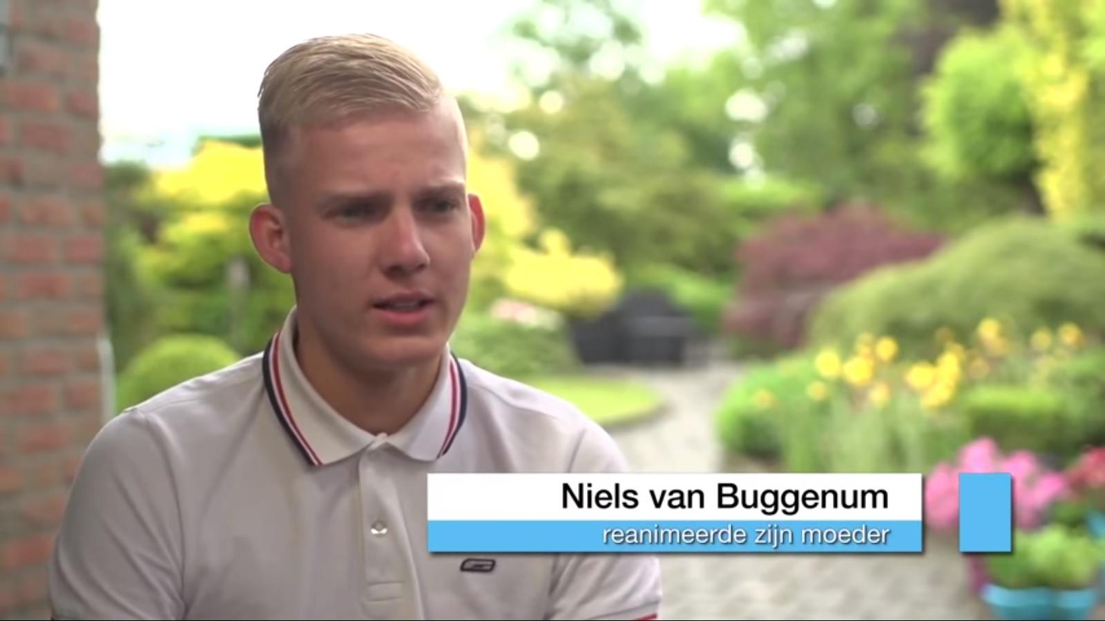 screenshot uit het inverview met Niels met het onderschrift: 'reanimeerde zijn moeder'