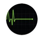 hartfilmpje of ecg met eerst normaal hartritme en dan plotseling een vlakke lijn