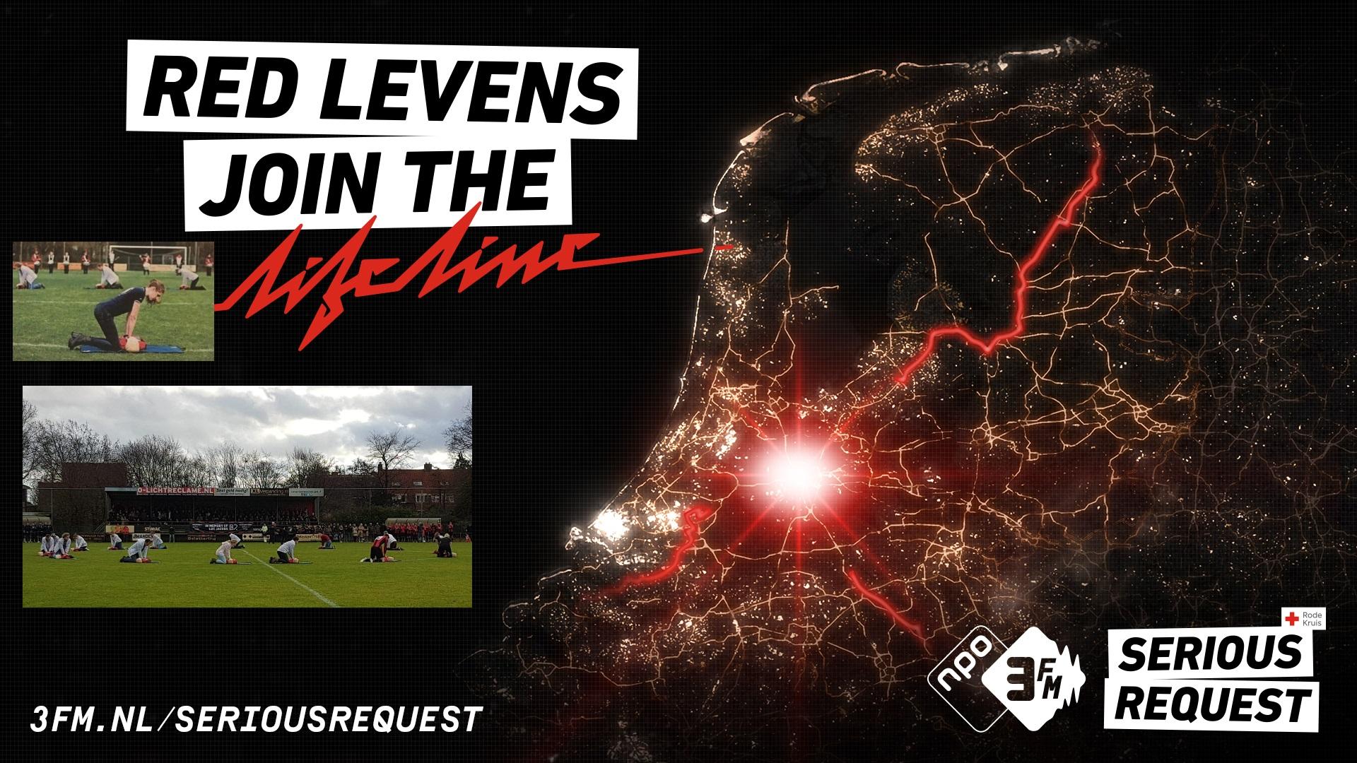 Poster Serious Request 2018 met foto's van de actie in Helmond ter nagedachtenis van Luc Jacobs