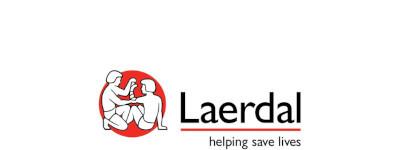 het logo van Laerdal, een afbeelding van de barmhartige Samaritaan, die de wonden van een slachtoffer verbindt met de tekst: helping save lives