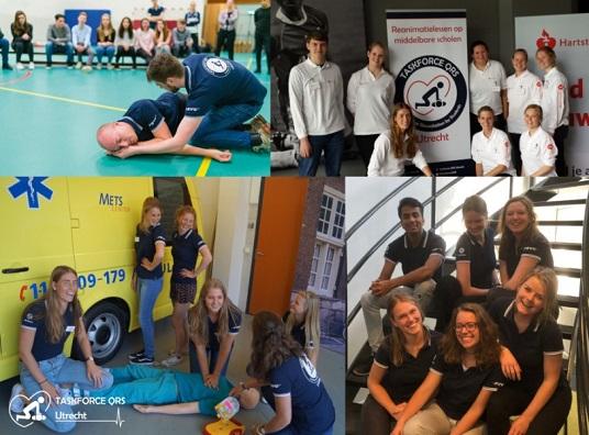 een collage van vier foto's van instructeurs, tijdens de uitleg van de stabiele zijligging op een school, bij een activiteit van de hartstichting en tijdens een instructeurscursus op het METS center