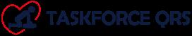 logo van een mannetje dat borstcompressies toepast bij een slachtoffer in de omtrek van een hartje, daarnaast de naam taskforce qrs